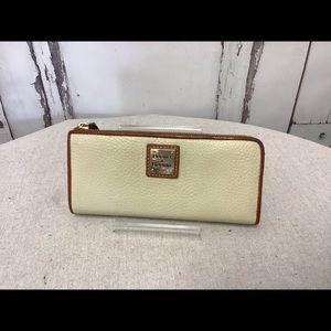 Dooney & Bourke Cream Pebbled Leather Zip Wallet